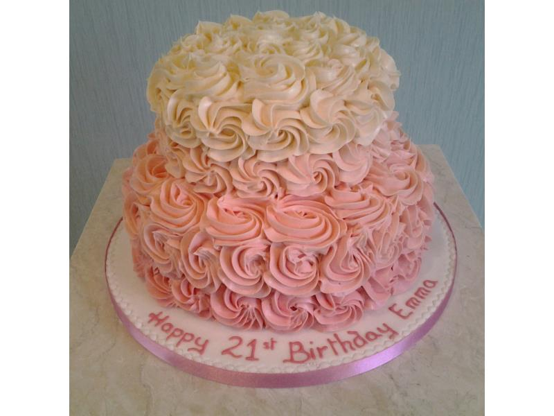 Ruffles - graduating coloured ruffles for Emma's 21st birthday in Blackpool. Made in vanilla and chocolate sponges.