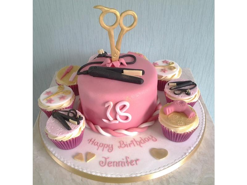 Hairdressing themed cake with scissors and straighteners, surrounded by similar cupcakes, to celebrate Jennifer's 18th in Blackpool. All in chocolate