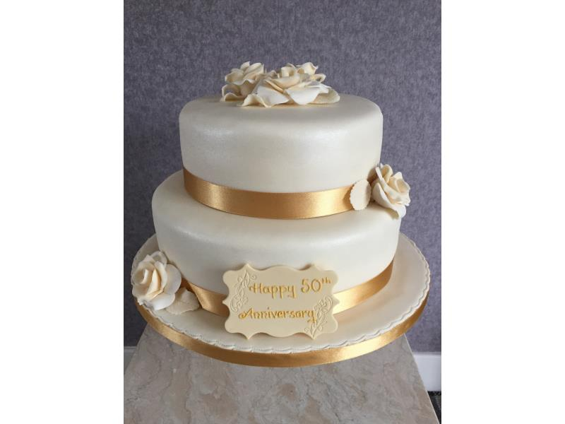Golden 50 - two tier 50th wedding anniversary cake in vanilla sponge for a special anniversary in Lytham St Annes