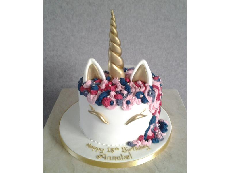 Unicorn cake for Annabel's 18th bithday in Poulton. Made from chocolate sponge