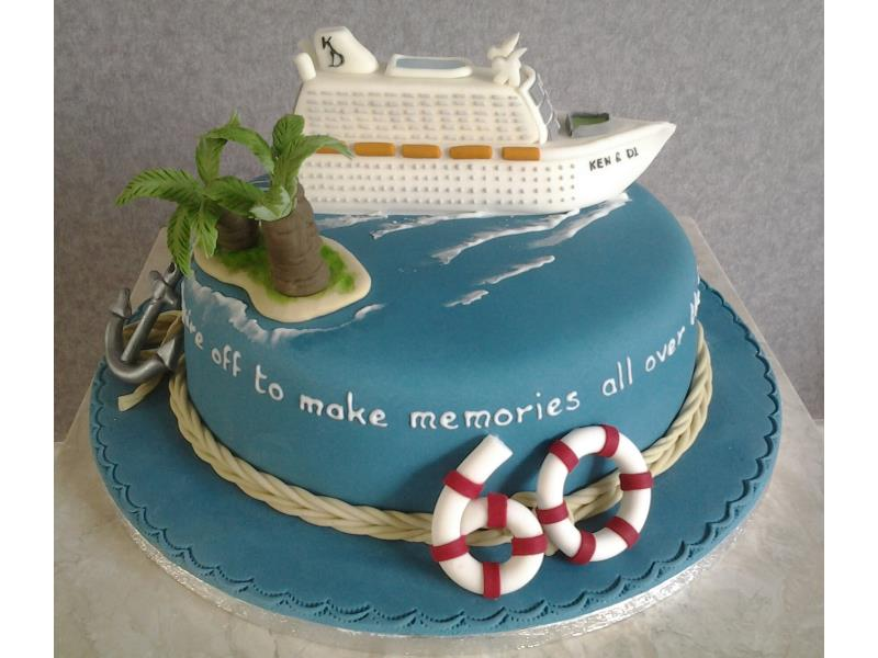 Cruise ship - holidays and cruising themed cake for Di & Ken's joint 60th birthdays in Blackpool