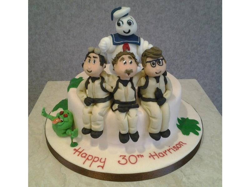 Ghostbusters with Marshmallow Man and slimer for Harrison in Blackpool. Made from chocolate sponge