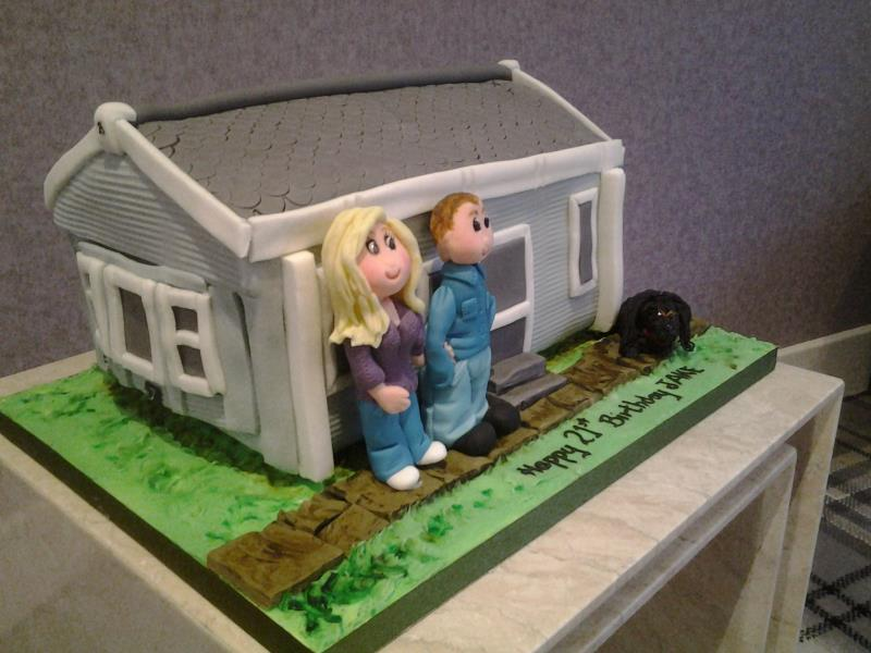 Static Caravan in chocolate sponge with couple and dog for Jake in Blackpool