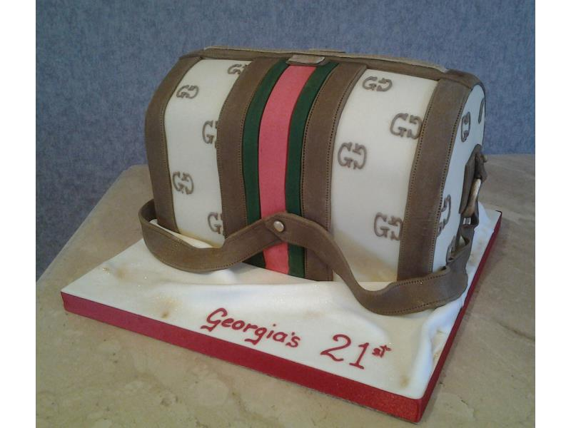 Gucci handbag as coming of age cake for Georgia in Blackpool. Made from vanilla sponge.