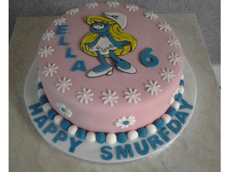 Smurf birthday cake in chocolate sponge for Ella's 6th in Blackpool