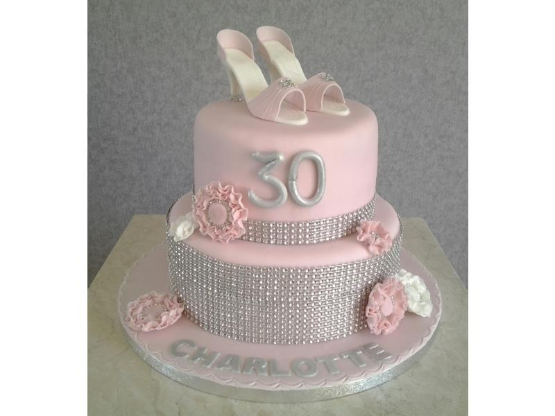 Charlotte  - 2 tier birthday cake with diamantes and shoes in vanilla sponge. Birthday in Thornton
