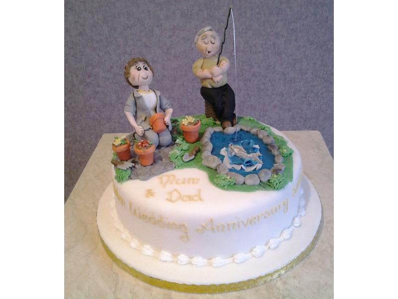 Fishing and gardening wedding anniversary cake in chocolate sponge for couple in Preston