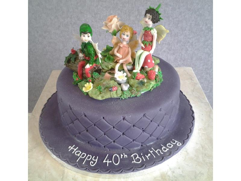 Fairies in the garden for 40th birthday in Lancaster. Made from vanilla sponge