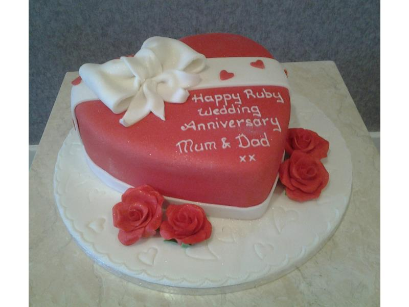 Red Heart- heart shaped vanilla sponge for Ruby Wedding Anniversary in Stalmine