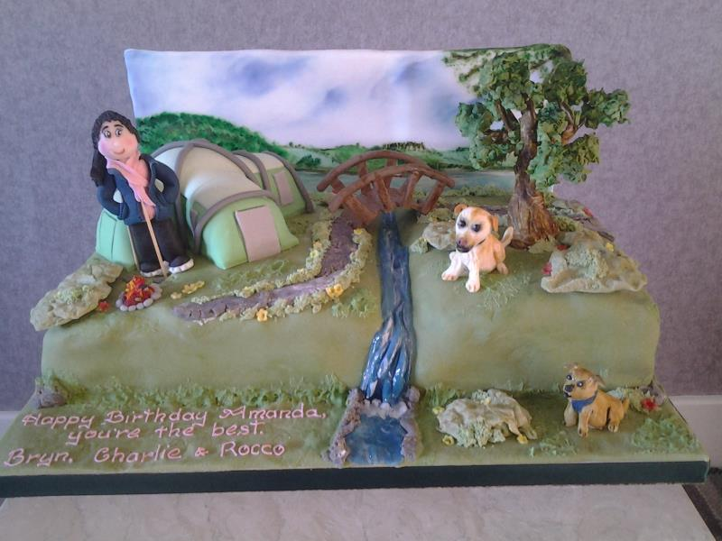 Camping in the country - birthday cake in vanilla and chocolate sponges for Amanda in Blackpool