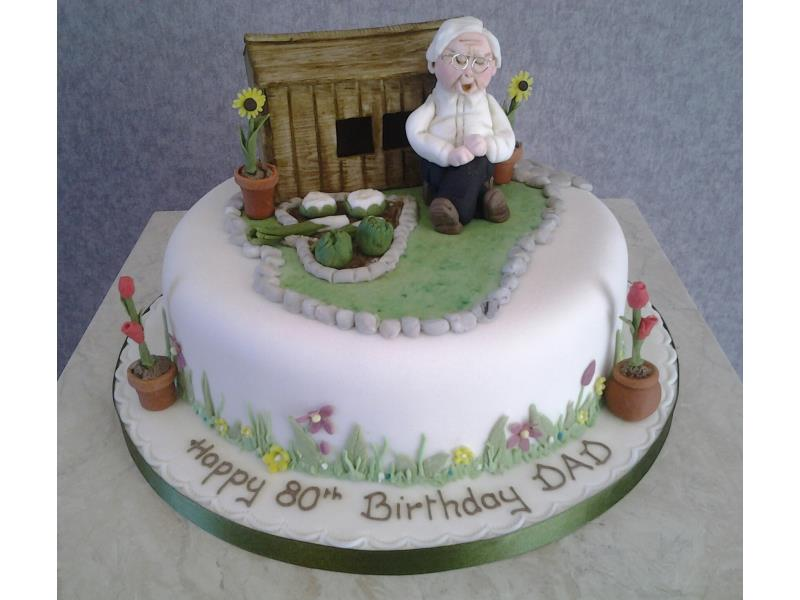 Gardening Grandad - in fruit cake with hand modelled figure and decorations. Beverley's Dad in Blackpool