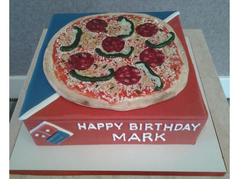 Domino Pizza and box, decorated with sugarpaste pepperoni, tomatoes, peppers and cheese. Cake made from vanilla sponge for Mark in Marton