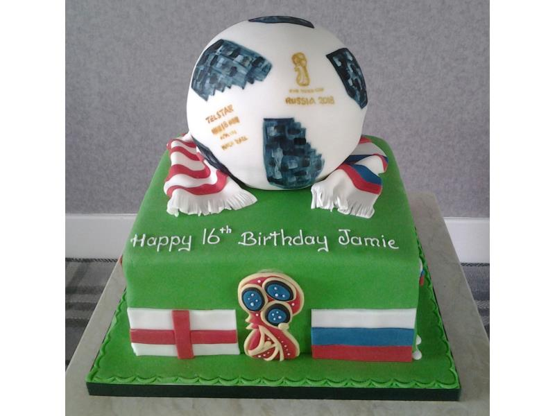 World Cup 2018 themed vanilla sponge cake for Jamie in Bispham