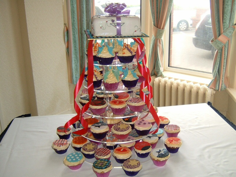 70s Theme - Cupcakes in situ at the wedding reception of Tracey & Stephen, Fleetwood
