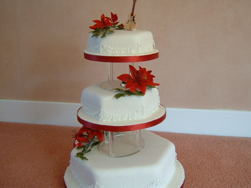 Yvonne - 3 tier wedding cake with sugarpaste flowers for Yvonne and Pete, Singleton