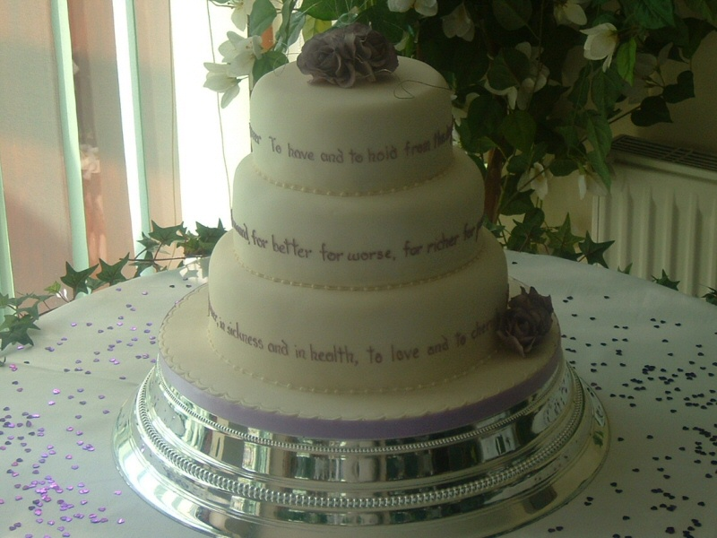 Rebecca - 3 tier cake with wedding vows iced on for Rebecca, Freckleton