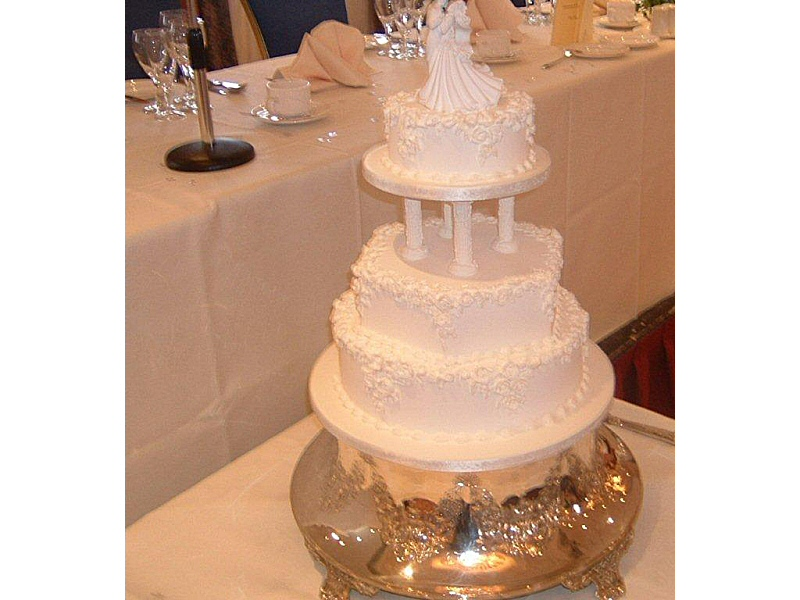 Zara - 3 tier white traditional royal iced wedding cake with hand made royal ice roses for Zara, Garstang