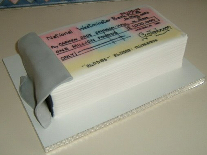 Cheque Book - 3D cheque book cake created for an 18th birthday