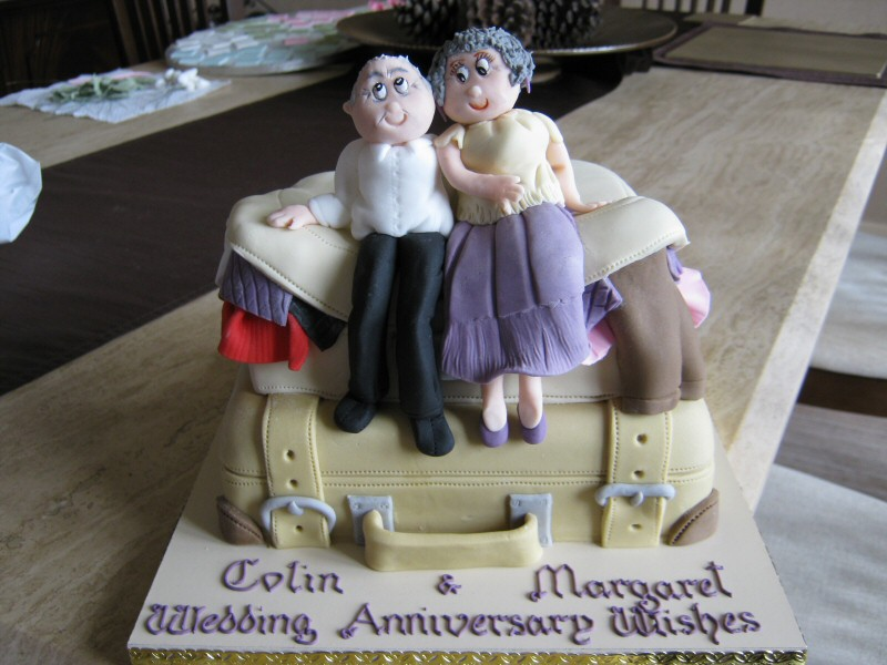 Margaret and Colin  - Wedding anniversary cake for Margaret and Colin of Manchester who love their holidays!