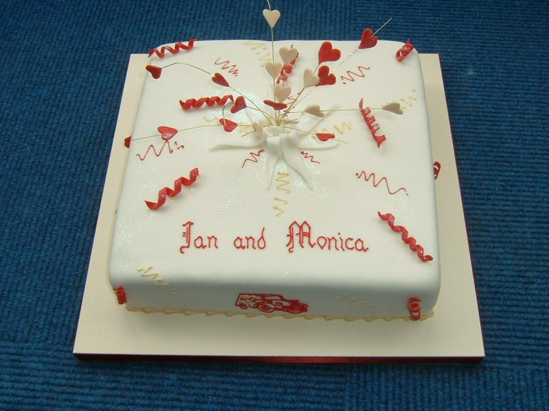 Hearts and streamers - Engagement cake for Ian and Monica of Poulton