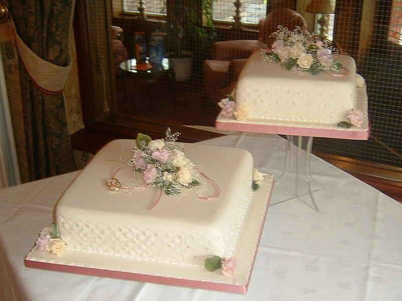 Tina - Embossed 2 tier wedding cake with roses for Tina, Preston