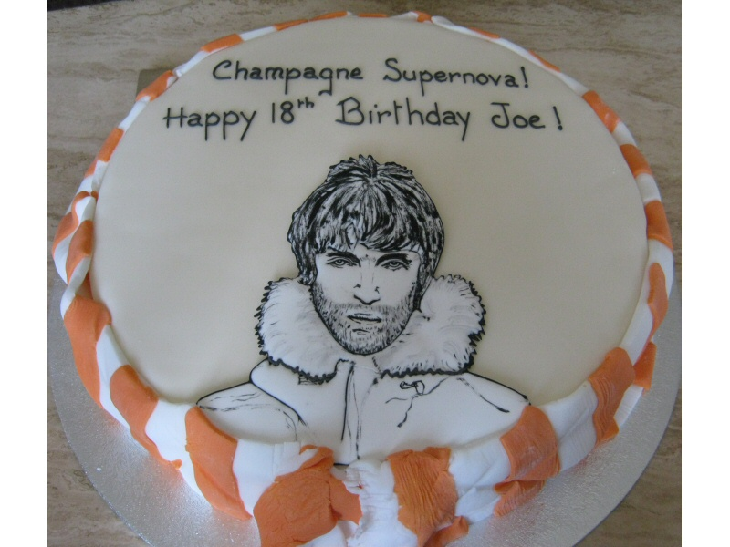 Liam - 18th birthday Liam (Oasis) cake for a Blackpool Football Club fan.