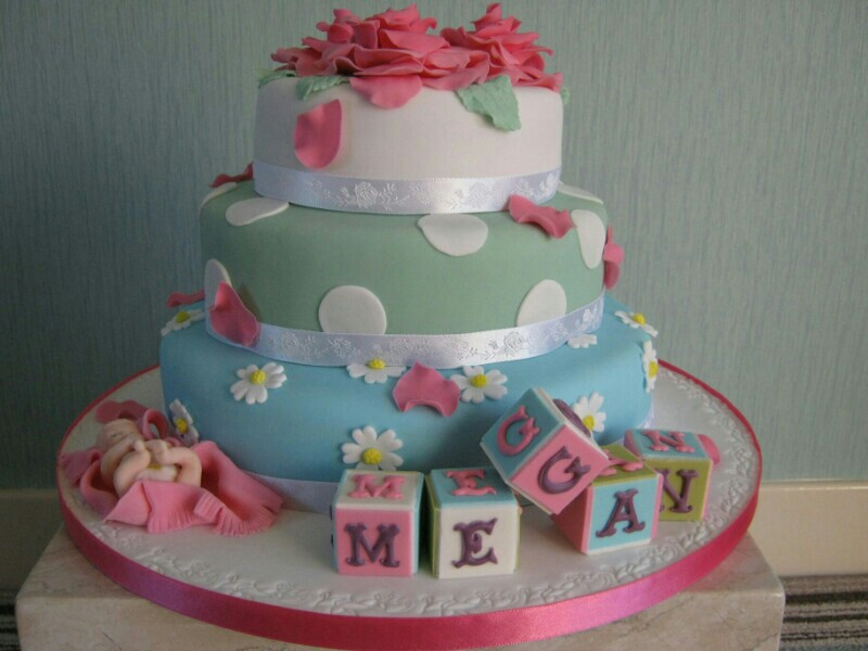 ABC Blocks - 3 tier sponge christening cake for baby Megan of Bispham, Blackpool.