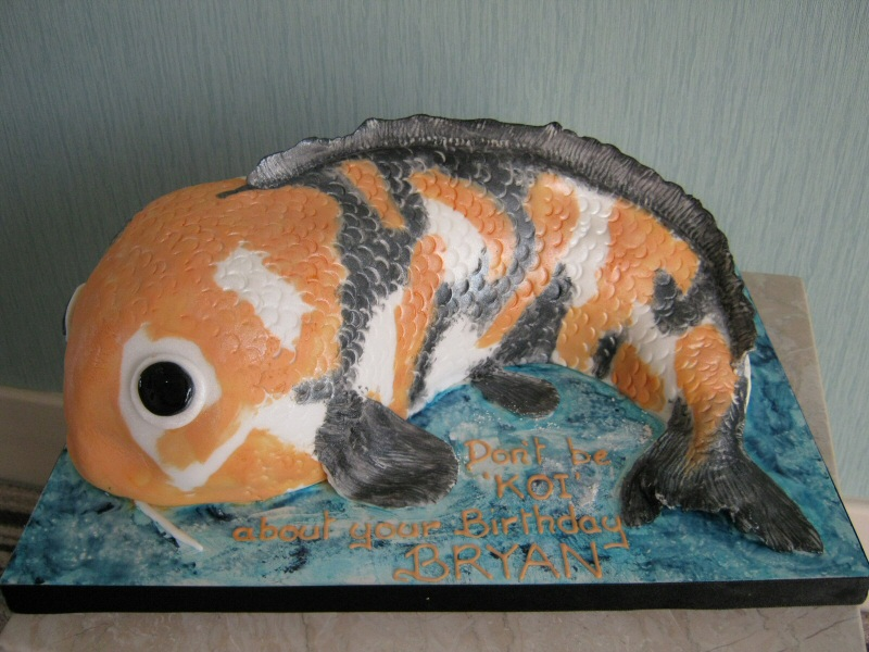 Koi Carp - Large sponge Koi Carp cake for Bryan of Blackpool.