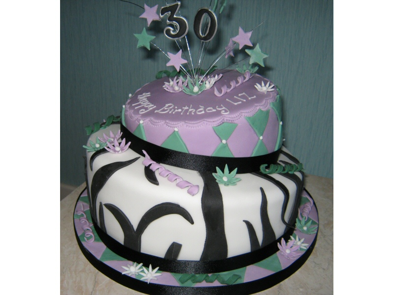 Wobbly Cake - 2 tier 30th birthday cake for Liz of Bispham, Blackpool.