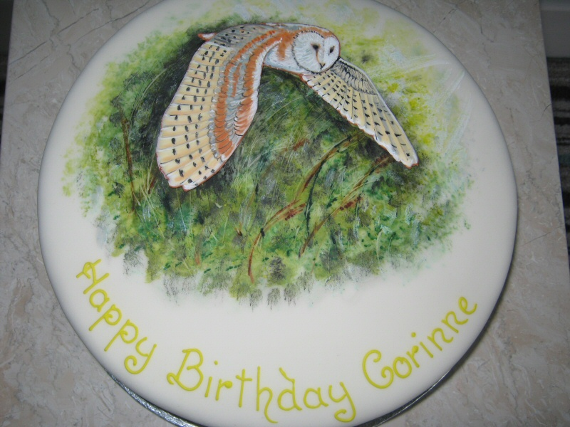 Barn Owl - Birthday cake with hand painted Barn Owl in flight for Corinne of Lytham.