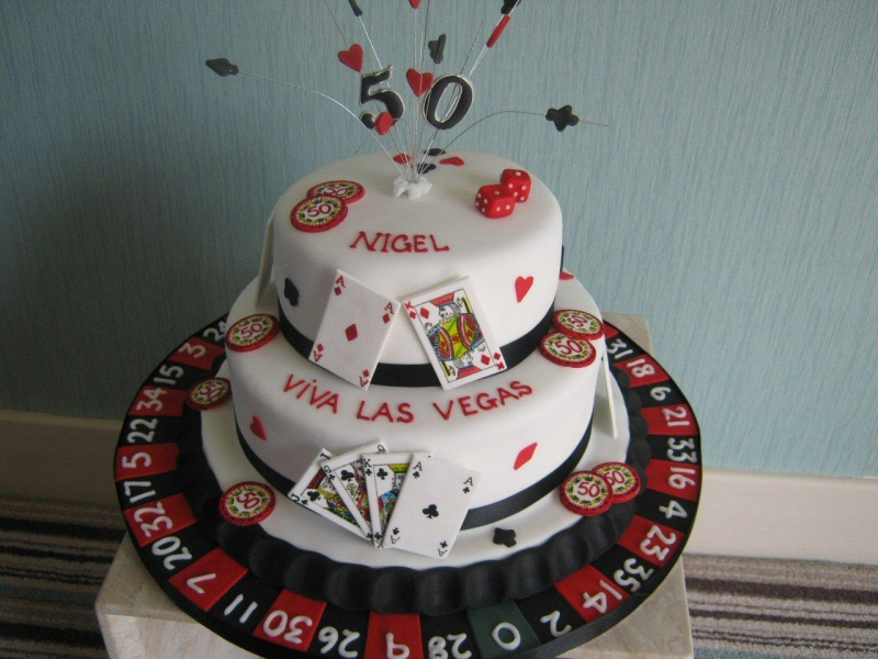 Viva Las Vegas - Casino cake featuring gambling decoration including cards, chips, dice and roulette for Nigel from Edinburgh.