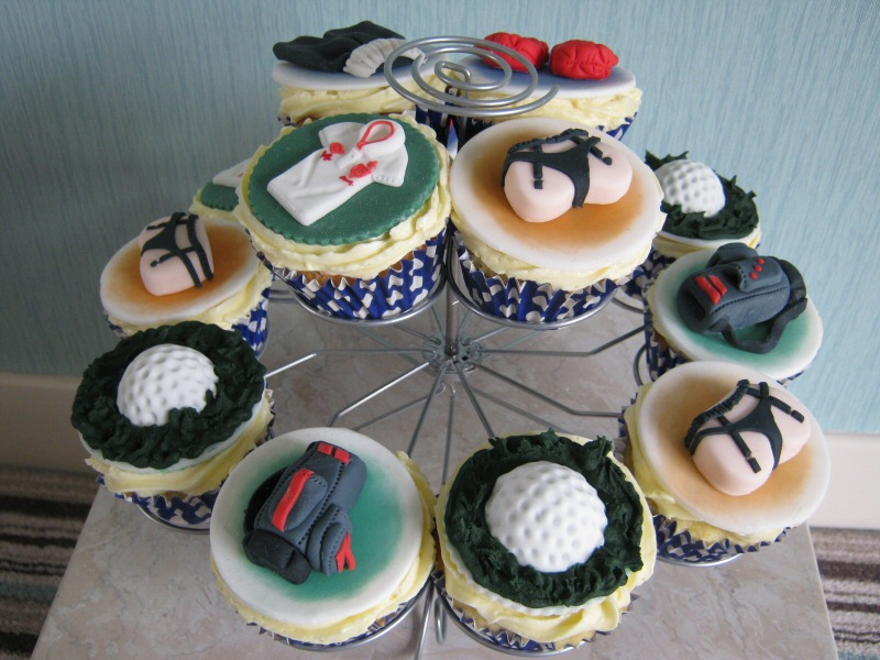 Teenage Cupcakes - For a teenage boy's birthday, who's into golf, boxing and of course, girls.