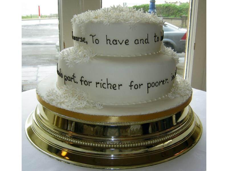 Wedding Vows - 2 tier sponge cake adorned with vows for Sian & Brian for their wedding at North Euston Hotel, Fleetwood.